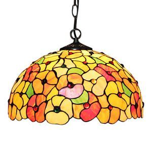 Tiffany 2 - Light Pendent Lights with Glass Shade in Flower Pattern