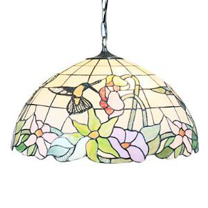 Tiffany 2 - Light Pendent Lights with Hummingbird Pattern