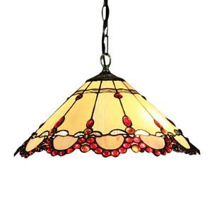 Tiffany 2 - Light Pendent Lights with Red Fringe