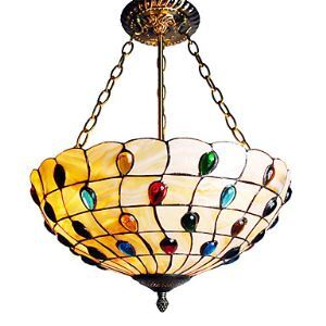 Tiffany Ceiling Light with 3 Lights in Artistic Pattern