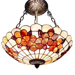 Tiffany Ceiling Light with 3 Lights in Floral Pattern