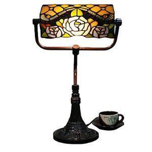 Tiffany Glass 2 Light Table Lights with Shade in Roses Pattern