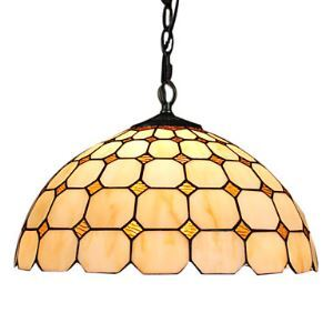 Tiffany Glass Pendent Lights with 2 Lights in Check Pattern