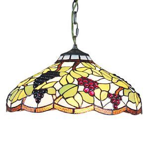 Tiffany Glass Pendent Lights with 2 Lights in Grape Pattern