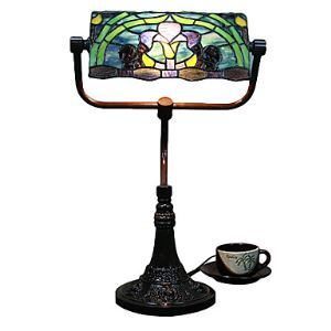 Tiffany Glass Table Lights with 2 Lights Purple Lily Pattern