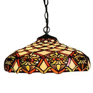 Tiffany Shell Pendant Light with 2 Light in Artistic Patterned Shade