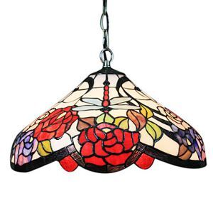 Tiffany Pendant Light with 2 Light in Dragonfly Floral Patterned Shade