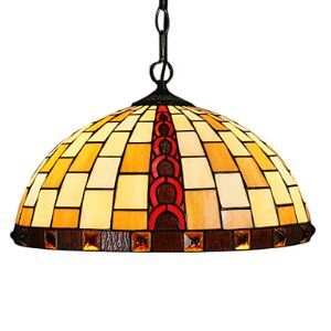 Tiffany Pendant Light with 2 Light in Geometrical Patterned Shade