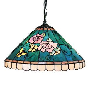 Tiffany Pendant Shell Light with 2 Light in Rose Patterned Shade