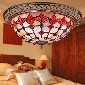 Tiffany Style Flush Mount with 3 Lights - Antique Inspired