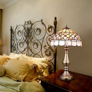 Tiffany Style Table Light with Floral Pattern