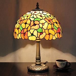 Tiffany Designed Table Light with 1 Lights in Blossom Pattern