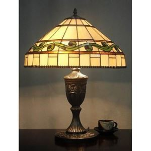 Tiffany Glass Table Lights with 2 Lights-Electroplate Finish