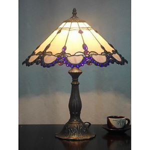 Tiffany Table Lights with 2 Lights with Purple Fringe - Electroplate Finish