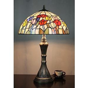 Tiffany Table Lights with 2 Lights in Tulip Pattern - Electroplate Finish