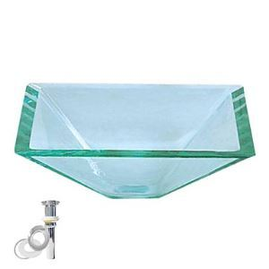 Transparent Tempered Glass Vessel Sink With Pop up and Mounting ring