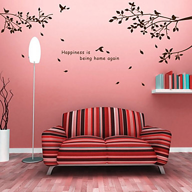Botanical Diy Words Wall Stickers Hapiness Tree Washable