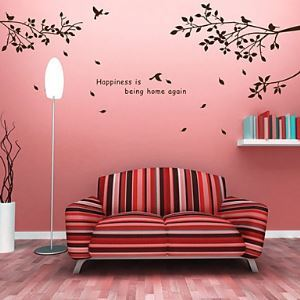 Botanical DIY Words Wall Stickers Hapiness Tree Washable Wall Decals
