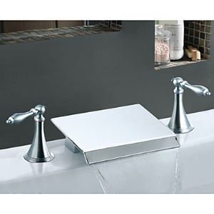 Two Handle Chrome Finish Solid Brass Waterfall Bathroom Sink Faucet