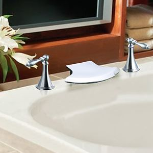 Two Handle Solid Brass Chrome Finish Waterfall Bathroom Sink Faucet