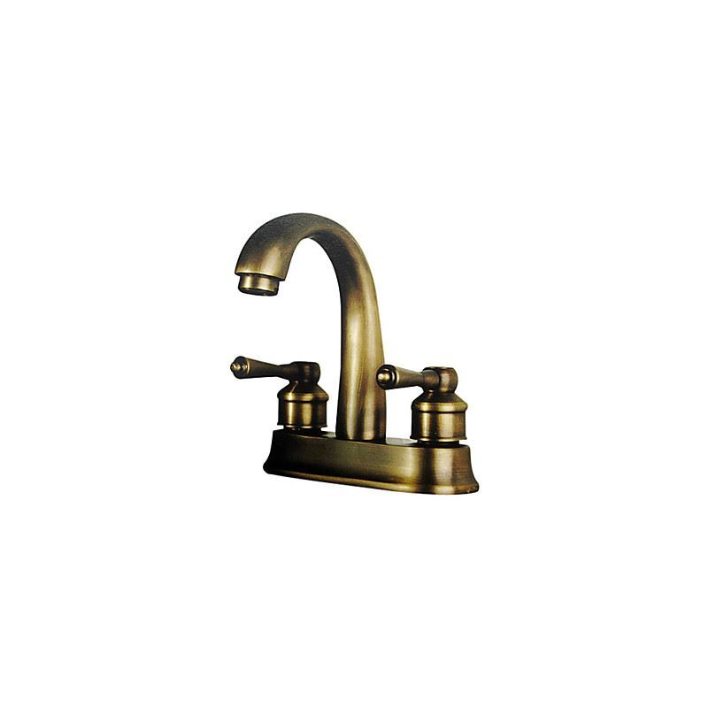 Antique Inspired 4 Inch Bathroom Sink Faucet Polished Brass Finish