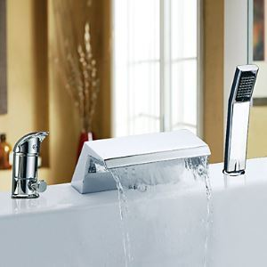 Single Handle Chrome Finish Waterfall Contemporary Widespread Tub Faucet With Handshower