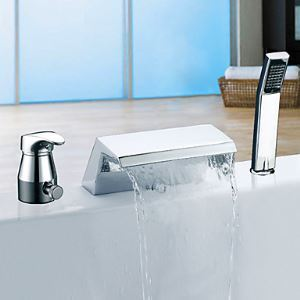 Single Handle Chrome Finish Widespread Contemporary Waterfall Tub Faucet With Handshower