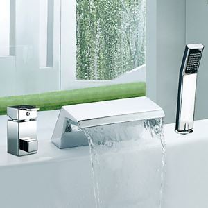 Single Handle Chrome Finish Widespread Contemporary Waterfall With Handshower Tub Faucet