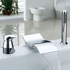 Single Handle Chrome Finish Widespread Waterfall Contemporary Tub Faucet With Handshower