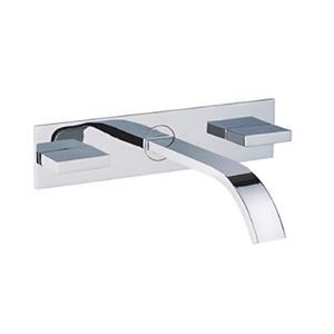 Contemporary Brass Bathroom Sink Faucet (Wall Mount)