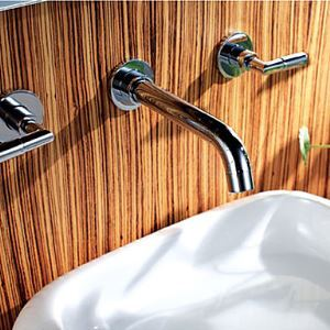 Chrome Finish Wall Mount Brass Bathroom Sink Faucet (Widespread)