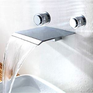Two Handles Contemporary Widespread Waterfall Bathroom Sink Faucet (Wall Mount)