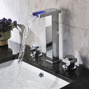 Two Handles Color Changing LED Waterfall Widespread Bathroom Sink Faucet-Chrome Finish(Tall)