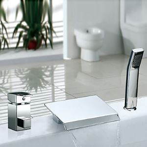 Single Handle Contemporary Chrome Finish Widespread Waterfall Tub Faucet With Handshower