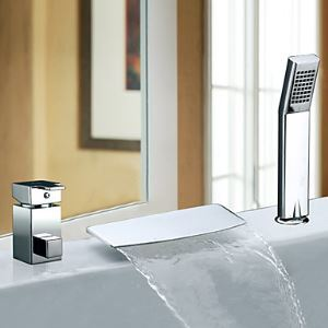 Single Handle Contemporary Waterfall Chrome Finish Widespread Tub Faucet With Handshower