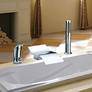 Single Handle Contemporary Waterfall Chrome Finish Widespread With Handshower Tub Faucet