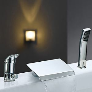 Single Handle Contemporary Widespread Waterfall Chrome Finish Tub Faucet With Handshower
