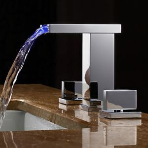 LED Hydroelectric Waterfall Sink Faucet Two Handles Light Up Basin Tap