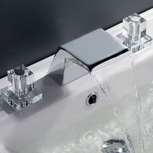 Contemporary Waterfall Bathroom Sink Faucet (Widespread)