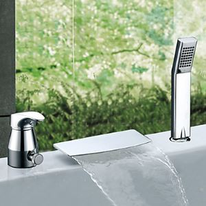 Single Handle Widespread Waterfall Chrome Finish Contemporary Tub Faucet With Handshower