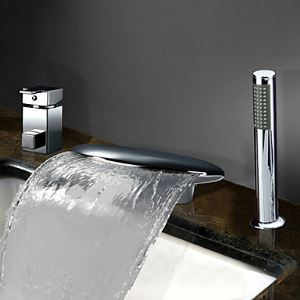 Single Handle Widespread Waterfall Contemporary Chrome Finish Tub Faucet With Handshower