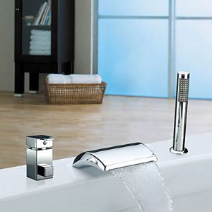 Single Handle Widespread Waterfall Contemporary Tub Faucet Chrome Finish With Handshower