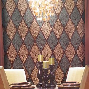 Venus Classical European Damask Diamond Shape Wallpaper 5 Colors