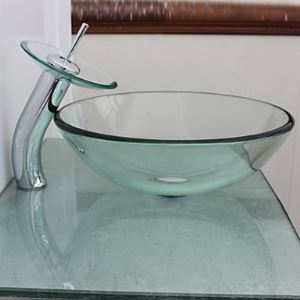 Victory Transparent Tempered glass Vessel Sink With Waterfall Faucet, Mounting Ring and Water Drain