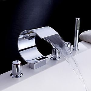 Waterfall Tub Faucet with Hand Shower (Curved Shape Design)