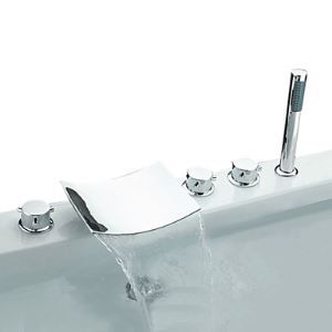 Waterfall Chrome Three Handles Widespread Bathroom Sink Faucet