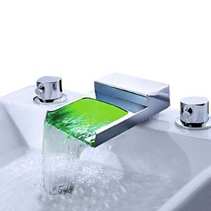 LED Waterfall Chrome Two Handles Widespread Bathroom Sink Faucet