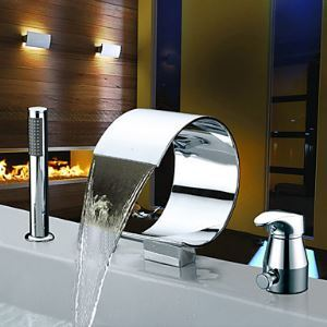 Waterfall Contemporary Two Handles Widespread Chrome Finish Tub Faucet With Handshower