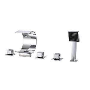 Two Handles Waterfall Tub Faucet with Hand Shower (Chrome Finish)
