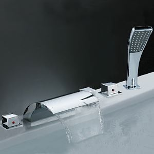 Waterfall Tub Faucet with Hand Shower (Chrome Finish)
